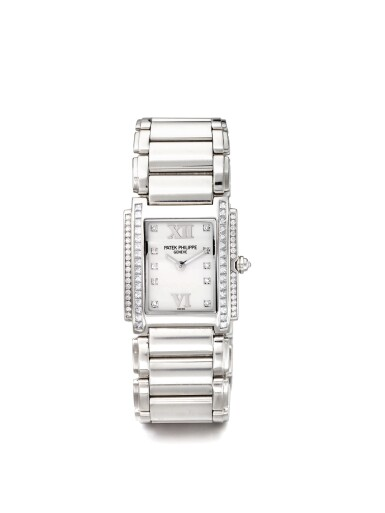 PATEK PHILIPPE | TWENTY-4, A WHITE GOLD AND DIAMOND SET RECTANGULAR WRISTWATCH MADE IN 2008