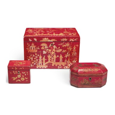 A CHINESE EXPORT RED LACQUER TEA CADDY, ALONG WITH TWO ENGLISH RED JAPANNED TEA CADDIES, 19TH CENTURY