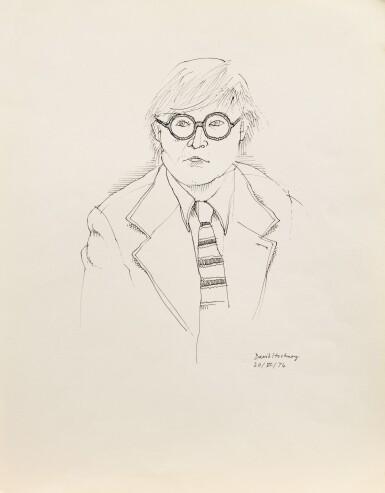 View 1. Thumbnail of Lot 33. Portrait de David Hockney en buste.