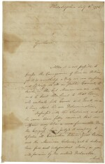 John Hancock, manuscript letter signed, announcing the adoption of the Declaration of Independence, 6 July 1776