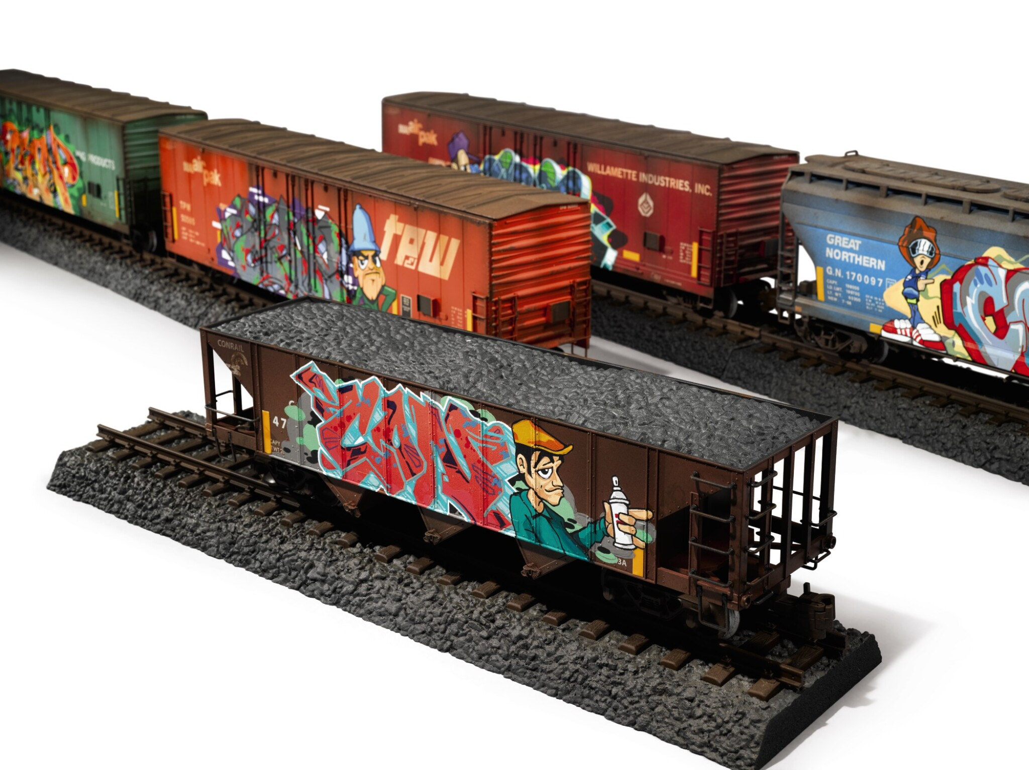 View full screen - View 1 of Lot 5. TIM CONLON | Five B-Boy G Scale Trains, 2020..