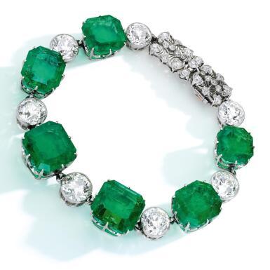 View 2. Thumbnail of Lot 72. Emerald and Diamond Bracelet.