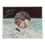 """[APOLLO 9]. CSM """"GUMDROP"""" ABOVE EARTH. VINTAGE COLOR PHOTOGRAPH, SIGNED AND INSCRIBED BY RUSSELL SCHWEICKART"""