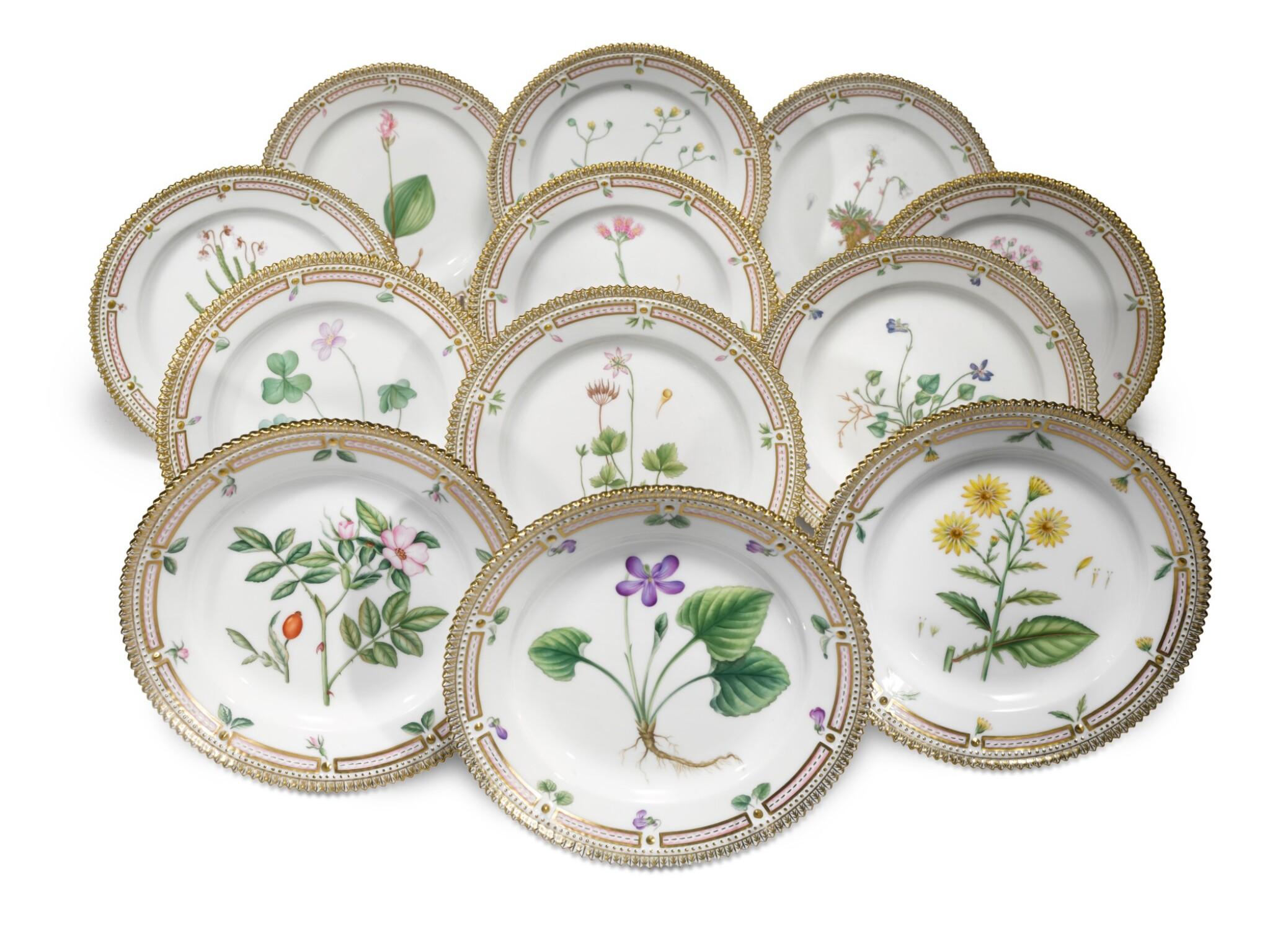 View full screen - View 1 of Lot 17. A Set of Twelve Royal Copenhagen 'Flora Danica' Salad Plates, Modern.