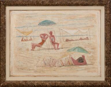 View 2. Thumbnail of Lot 52. Spiaggia / Donne sulla spiaggia.