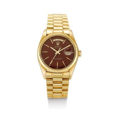 ROLEX   DAY-DATE, REFERENCE 1803 A PINK GOLD WRISTWATCH WITH DAY, DATE, BROWN TOBACCO LACQUERED STELLA DIAL AND BRACELET, CIRCA 1978