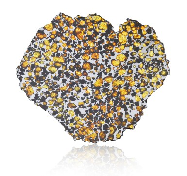 FROM THE HIGHEST DESERT ON EARTH — A SELECT COMPLETE SLICE OF AN IMILAC PALLASITE WITH EXTRATERRESTRIAL GEMSTONES