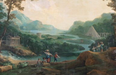 View 2. Thumbnail of Lot 178. A capriccio landscape with a pyramid beyond.