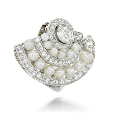 View 2. Thumbnail of Lot 44. DIAMOND AND PEARL CLIP BROOCH.
