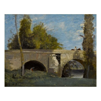 View full screen - View 1 of Lot 55. JEAN-BAPTISTE-CAMILLE COROT | MANTES- DEUX ARCHES DU PONT AVEC UN CAVALIER.