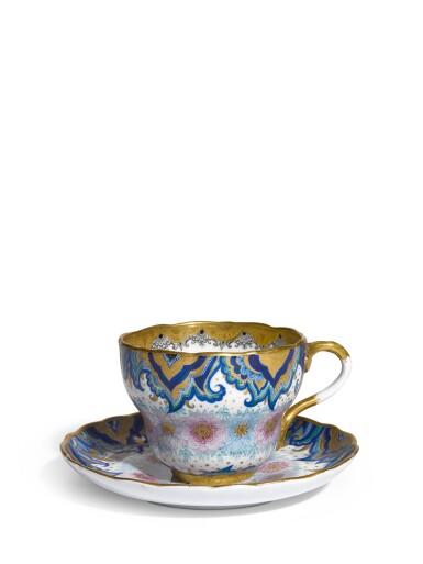 View 1. Thumbnail of Lot 362. Arabesque and wreath: A Soviet porcelain cup and saucer, Lomonosov Porcelain Factory, Leningrad, 1934.