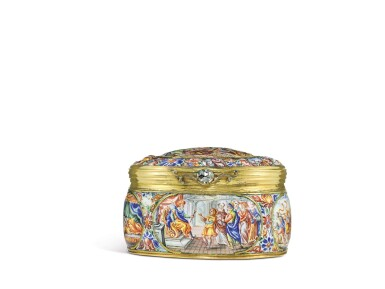 View 2. Thumbnail of Lot 1. An enamel snuff box with jewelled gold mounts, possibly Southern German, dated 1671.