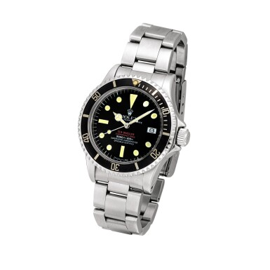 """View 2. Thumbnail of Lot 2141. Rolex   """"Double Red"""" Sea-Dweller, Reference 1665, A stainless steel wristwatch with date and bracelet, Circa 1977   勞力士   """"Double Red"""" Sea-Dweller型號1665  精鋼鏈帶腕錶,備日期顯示,約1977年製."""