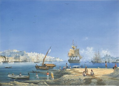 View 1. Thumbnail of Lot 208. Valletta, a view of the Grand Harbour.