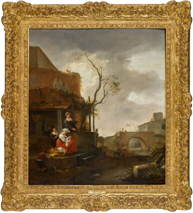 View 2. Thumbnail of Lot 149. Figures outside a tavern with a woman sewing, travellers on a bridge beyond.