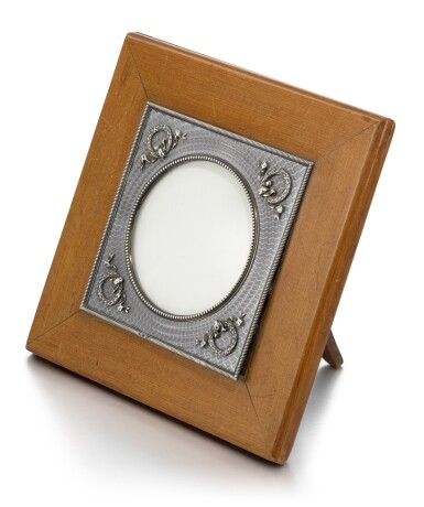View 2. Thumbnail of Lot 27. A Fabergé silver-mounted and guilloché enamel palisander wood photograph frame, workmaster Anders (Antti) Nevalainen, St Petersburg, 1899-1903.