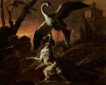 ABRAHAM HONDIUS | Three dogs attacking a crane in a landscape