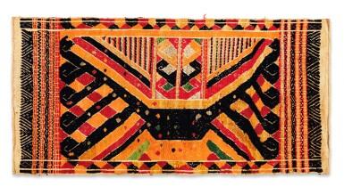 "View 2. Thumbnail of Lot 32. Tissu cérémoniel ""à jonques"" tatibin, Lampung, Sumatra, Indonésie, ca.1900 | Ceremonial hanging ""ship cloth"" tatibin, Lampung, Sumatra, Indonesia, about 1900."