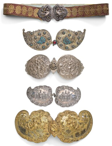 FIVE OTTOMAN SILVER AND SILVER-GILT BELT BUCKLES, TURKEY, GREECE AND BALKANS, 19TH CENTURY