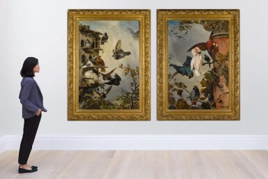 View 2. Thumbnail of Lot 1. PHILIPPE ROUSSEAU  |  A STILL LIFE WITH PIGEONS IN A ROOSTING HOUSE IN A TREETOP; AND A STILL LIFE WITH PARROTS AND A MONKEY PERCHED ON THE BRANCHES OF A GRAPEVINE .