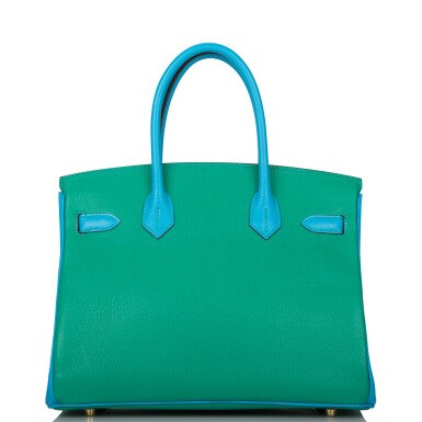 View 5. Thumbnail of Lot 92. HERMÈS    HORSESHOE STAMP (HSS) BICOLOR MENTHE AND BLEU AZTEC BIRKIN 30CM OF CHEVRE LEATHER WITH BRUSHED GOLD HARDWARE.