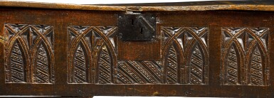 View 2. Thumbnail of Lot 5. A rare English oak boarded and relief carved chest, late 15th / early 16th century.