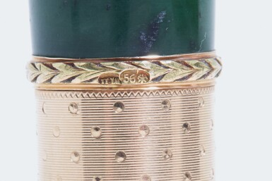 View 4. Thumbnail of Lot 70. A FABERGÉ THREE-COLOUR GOLD AND NEPHRITE PARASOL HANDLE, WORKMASTER MICHAEL PERCHIN, ST PETERSBURG, CIRCA 1890.