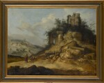 JACOB SIBRANDI MANCADAN | Travellers resting in a landscape with ruined buildings