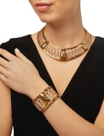 CARTIER   GOLD AND DIAMOND 'SCARAB' NECKLACE AND CUFF-BRACELET