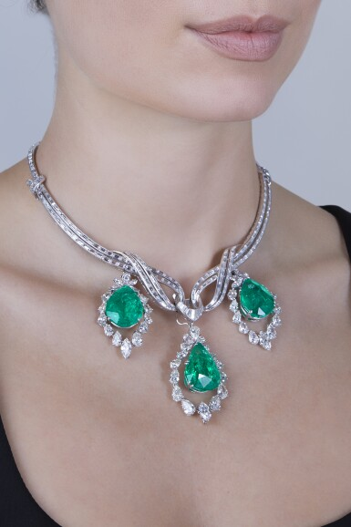 View 2. Thumbnail of Lot 164. Emerald and Diamond Pendant-Necklace [祖母綠配鑽石吊墜項鏈].
