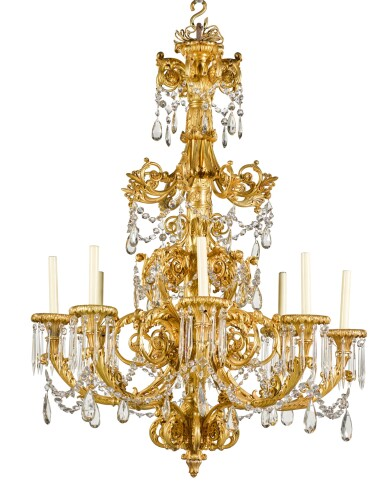 View 4. Thumbnail of Lot 56. A gilt-bronze eight-light chandelier, possibly North European, second quarter 19th century.