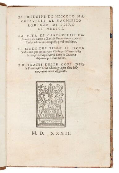 View 1. Thumbnail of Lot 169. Machiavelli, Il Principe, Florence, 1532, later Danish half calf.