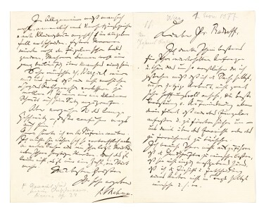 View 4. Thumbnail of Lot 10. J. Brahms. The correspondence with Ernst Rudorff, 16 letters with replies, and an autograph music manuscript 1865-1887.