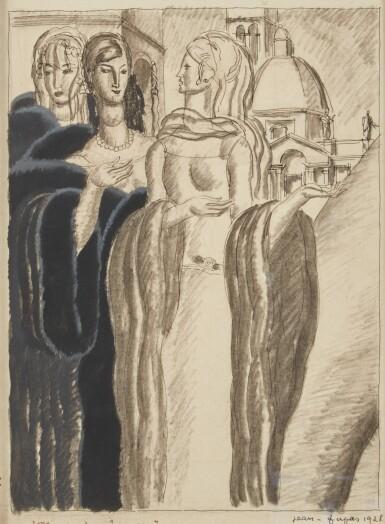 View 1. Thumbnail of Lot 68. Drawing of Three Women.