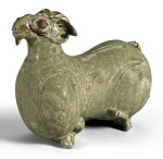 A RARE 'YUE' FIGURE OF A RECUMBENT RAM WESTERN JIN DYNASTY, 3RD CENTURY AD | 西晉 三世紀 越窰青釉臥羊水注