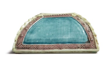 View 3. Thumbnail of Lot 1127. A SQUARE-SECTION TURQUOISE AND AUBERGINE-GLAZED WATERPOT, QING DYNASTY, 19TH CENTURY.