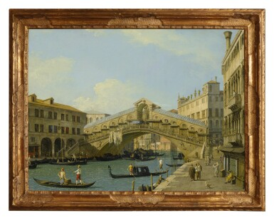 View 2. Thumbnail of Lot 12. GIOVANNI ANTONIO CANAL, CALLED CANALETTO | VENICE, A VIEW OF THE GRAND CANAL LOOKING NORTH TOWARDS THE RIALTO BRIDGE .