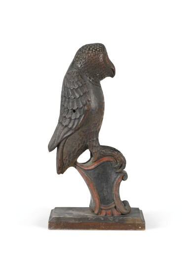 A CARVED PINE OR LINDEN-WOOD POLYCHROME DECORATED SURMOUNT IN THE FORM OF AN OWL, POSSIBLY SWISS, 18TH CENTURY