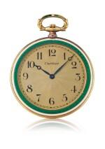 SWISS   YELLOW GOLD AND ENAMEL OPEN-FACED KEYLESS WATCH, CIRCA 1915