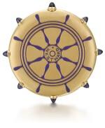 CARTIER, PARIS   [卡地亞,巴黎]    A GOLD AND ENAMEL KEYLESS OPEN-FACED WATCH IN THE SHAPE OF A SHIP'S WHEEL TO COMMEMORATE THE SUCCESS OF THE AMERICAN RACING SCHOONER WESTWARD AT THE 1910 KIEL REGATTA  CIRCA 1910   [黃金畫琺瑯船輪形懷錶,為紀念美國Westward縱帆快艇勝出1910年Regatta帆船賽製造,年份約1910]