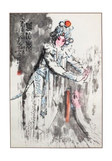 View 1. Thumbnail of Lot 140. Artistes variés Ensemble de six peintures d'Opéra chinois   京劇人物 一組六幀   Various artists Set of Six Paintings of Chinese Opera.