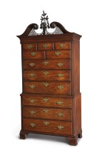 The Important Stratton-Carpenter-Wheeler Family Chippendale Carved and Figured Mahogany Chest-on-Chest, cabinetwork attributed to John Folwell (w. 1762-1780); carving attributed to James Reynolds (w. 1766-1794), Philadelphia, Pennsylvania, circa 1770