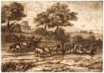 A pastoral landscape with a coastal view in the background, a building with a tower to the left, herdsman and cattle