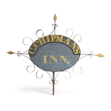 FINE PAINTED PINE AND WROUGHT IRON SIGN, NEW ENGLAND, CIRCA 1850