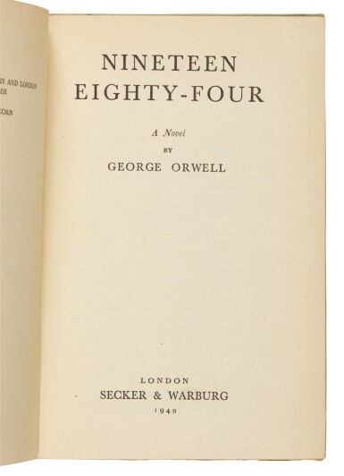 View 2. Thumbnail of Lot 131. Orwell, Nineteen Eighty-Four, 1949.