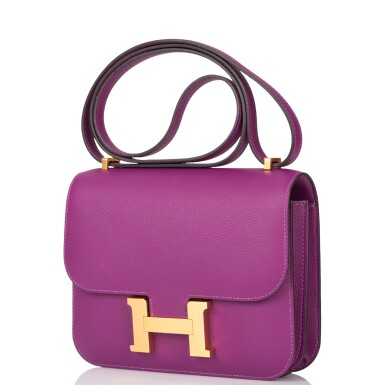 View 5. Thumbnail of Lot 21. Hermès Anemone Constance 18cm of Evercolor Leather with Gold Hardware.