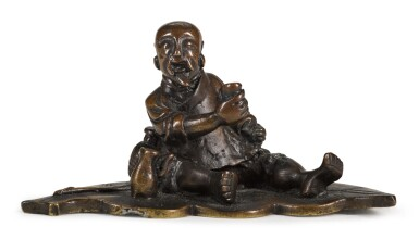 View 1. Thumbnail of Lot 70. A BRONZE 'FISHERMAN' PAPERWEIGHT   17TH/18TH CENTURY   十七/十八世紀 銅漁公鎮紙.