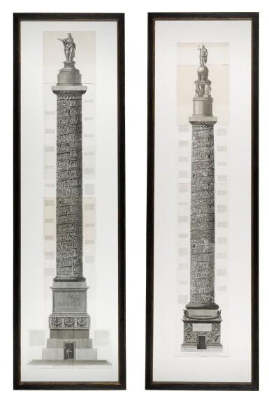 View 1. Thumbnail of Lot 69. Francesco Piranesi (1756-1810), Two etchings of Roman columns, late 18th century.