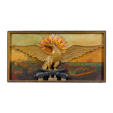 VERY FINE AND RARE PATRIOTIC CARVED AND GILTWOOD SPREAD-WINGED AMERICAN EAGLE WITH PAINTED SEASCAPE BACKGROUND WALL PLAQUE, POSSIBLY JOSEPH MASON (JOHN WILLIAMS) (ABT.1780) AND WILLIAM HENRY COFFIN (1812-1898), PROBABLY NANTUCKET, MASSACHUSETTS, CIRCA 1850