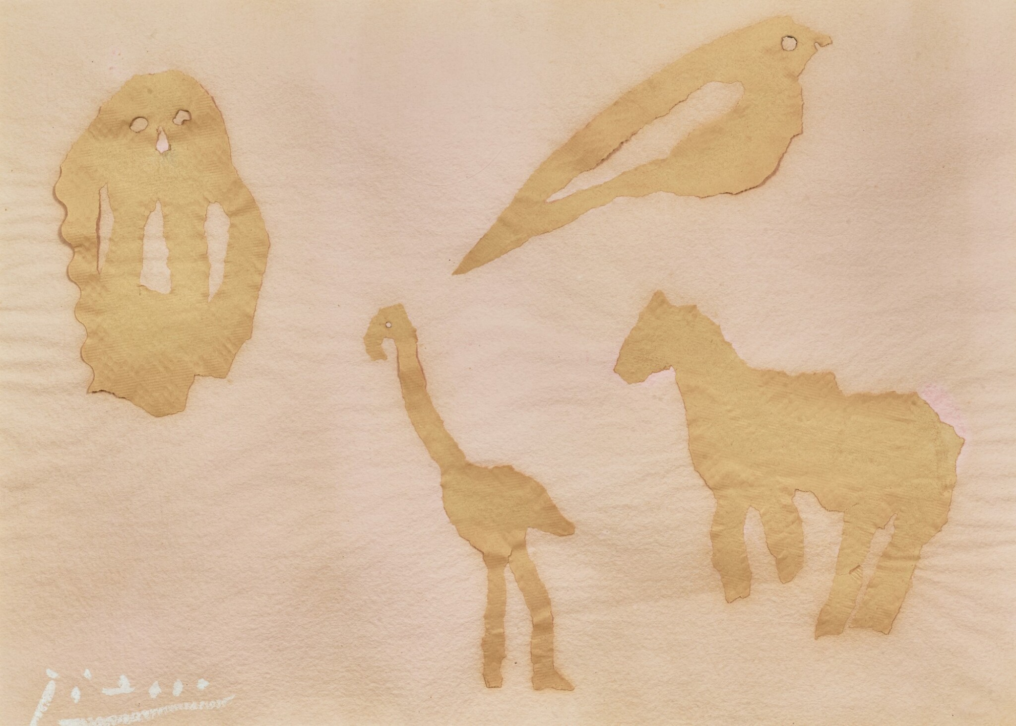 View full screen - View 1 of Lot 19. PABLO PICASSO | QUATRE ANIMAUX : CHOUETTE, OISEAU, GIRAFE ET CHEVAL.